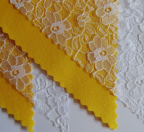 BUNTING - Plain Yellow & White Floral Lace - 3m/10ft or 5m/16ft
